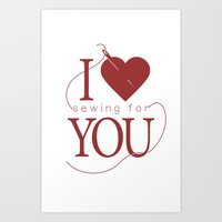 I Heart (Sewing for) You! Art Print