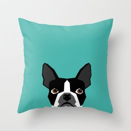 Boston Terrier head dog breed gifts cute pupper boston terriers must haves Throw Pillow