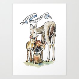 Happy Fawnukkah Art Print