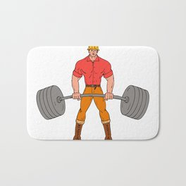 Buffed Lumberjack Lifting Weights Cartoon Bath Mat