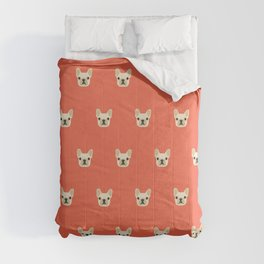 French Bulldog Peek - Cream on Sunset Red Comforters