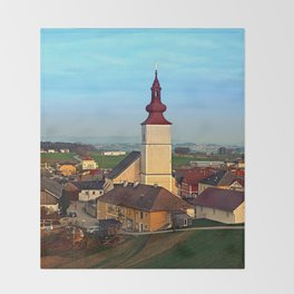 Village and church in warm sundown light | landscape photography Throw Blanket