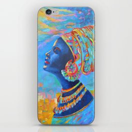 Black Woman Painting Africa People Girl in Wrap Color Beautiful Portrait iPhone Skin