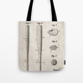 Baseball Bat Patent - Baseball Art - Antique Tote Bag