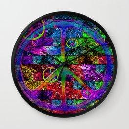Peace Symbol Rainbow Flag Wall Clock