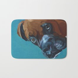 Leo the Boxer Dog Portrait Bath Mat
