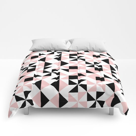 Eva - rose quartz quilt squares hipster retro geometric minimal abstract pattern print black pink Comforters