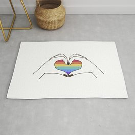 Mid Century Magic 94 Rainbow Love Rainbow Power Pastel Rainbow Hands Making A Heart Pastel Pink Colorful Millennial Style Rug