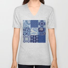 Blue and White Patchwork Squares Unisex V-Neck