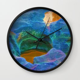 Abstract beautiful rock pools in the late afternoon Wall Clock