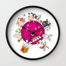 Planet farm Wall Clock