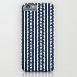 Tiny Triangles Stripes in Navy Blue iPhone Case
