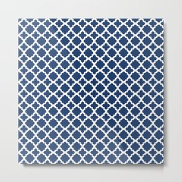 Lattice Navy on White Metal Print