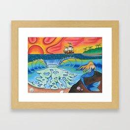 Sunset Mermaid Framed Art Print
