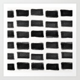 Brush Strokes Horizontal Lines Black on Off White Art Print