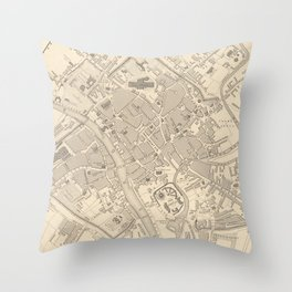Vintage Map of York England (1851) Throw Pillow
