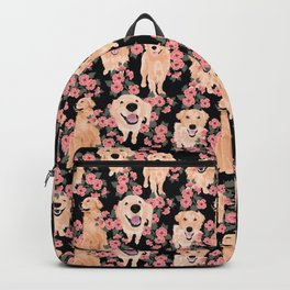 Golden Retrievers and flowers on Black Backpack