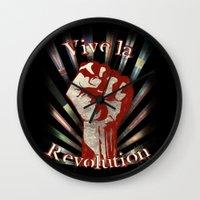 revolution Wall Clocks featuring Revolution by PsychoBudgie