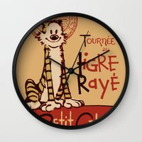 hobbes Wall Clocks featuring Le Tigre Rayé by Arinesart