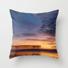 New Moon Over Pacific Beach Pier Throw Pillow