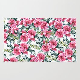 Elegant botanical pink green watercolor roses pattern Rug