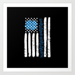 Thin Blue Line St Patricks Police Flag Art Print