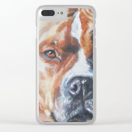 Beautiful American Staffordshire Terrier portrait by L.A.Shepard fine art painting Clear iPhone Case