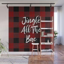Jingle All The Bae (Buffalo Plaid) Wall Mural