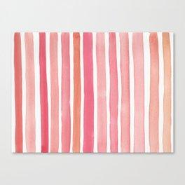Pretty in Pink Watercolor Stripes Canvas Print