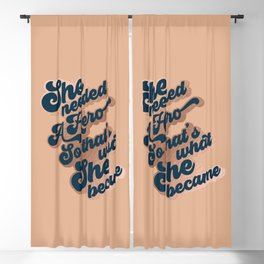 Hero Girl - Groovy font 2. Blue, Rose Gold, Tan Blackout Curtain