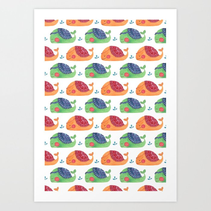 The Whale Pattern Art Print