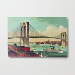 19th Century Portrait of the Brooklyn Bridge and East River, NYC Metal Print