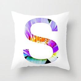 Monogram Lotus Flower Art Letter Design Throw Pillow