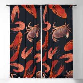Lobster - Crab - Shrimps black background Blackout Curtain