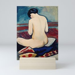 Sitting Nude with Pillow by August Macke, 1911 Mini Art Print