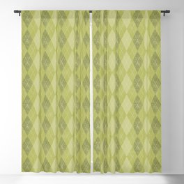 Textured Argyle in Apple, Avocado and Olive Greens Blackout Curtain