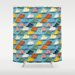 Happy Hippo Family Shower Curtain