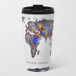 """Star map. Never stop exploring...II"". World map. Travel Mug"