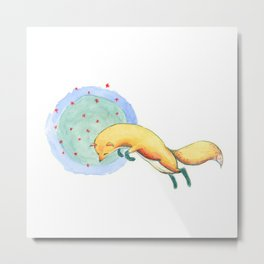 Jumping fox starry night sky Metal Print