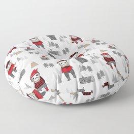 Forest lumberjack and bear nursery kids cute woodland camper gifts Floor Pillow