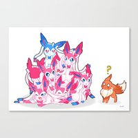 sylveon Canvas Prints featuring Sylveon Pile by Black Howl