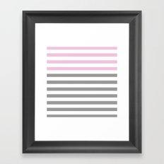 GRAY & PINK STRIPES Framed Art Print