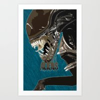 aliens Art Prints featuring Aliens by OzoneO3