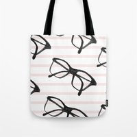 frames Tote Bags featuring Frames & Stripes by Georgiana Paraschiv