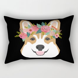 Corgi head floral crown dog breed gifts for welsh corgis Rectangular Pillow