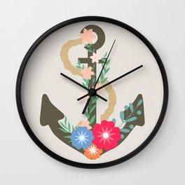 Floral anchor Wall Clock