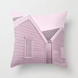 Pastel Pink Beach Huts Throw Pillow
