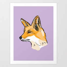 Fox face art print without frame