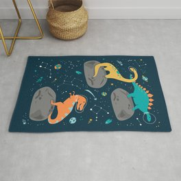 Dinosaurs Floating on an Asteroid Rug