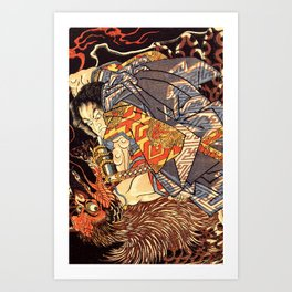Fight With Tengu Art Print